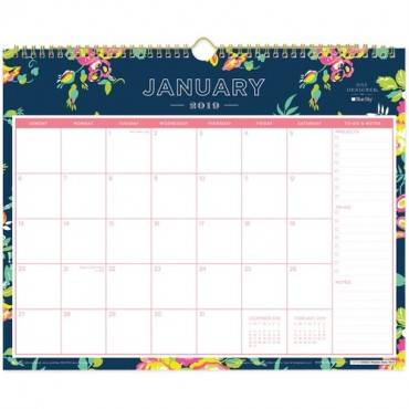 Blue Sky Day Designer Navy Floral Wall Calendar (EA/EACH)