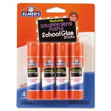 Elmer S  Washable School Glue Sticks, Disappearing Purple, 4/Pack