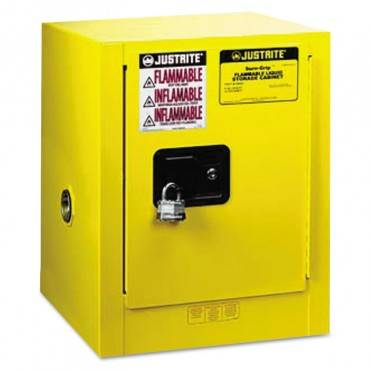 Justrite  Sure-Grip Ex Countertop Safety Cabinet, 17w X 17d X 22h, Yellow