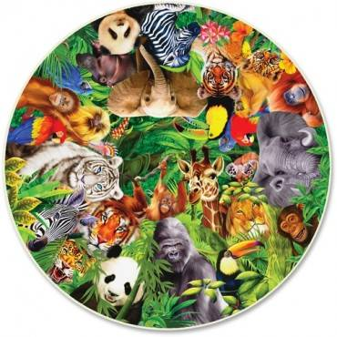 A Broader View Wild Animals 500-piece Round Puzzle (BX/BOX)