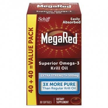 Megared  EXTRA STRENGTH OMEGA-3 KRILL OIL SOFTGEL, 80 SOFTGELS 98093EA 1 Each