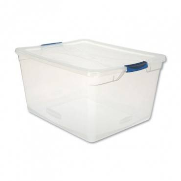 Rubbermaid  CLEVER STORE BASIC LATCH-LID CONTAINER, 18 5/8W X 23 1/2D X 12 1/4H 71QT, CLEAR RMCC710000 1 Each