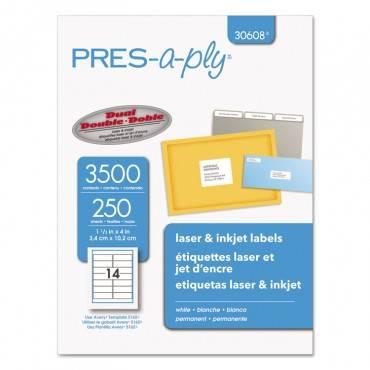 Labels, Inkjet/laser Printers, 1.33 X 4, White, 14/sheet, 250 Sheets/box