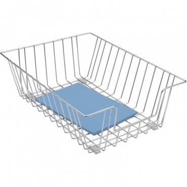 """Wire Desk Tray Organizer, 1 Section, Legal Size Files, 12"""" X 16.5"""" X 5"""", Silver"""