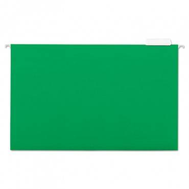 Deluxe Bright Color Hanging File Folders, Legal Size, 1/5-cut Tab, Bright Green, 25/box