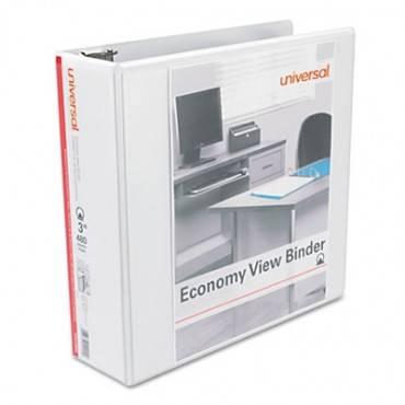 """Universal  Economy Round Ring View Binder, 3"""" Capacity, White, 6/Pack"""
