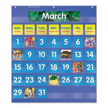 Monthly Calendar Pocket Chart, 25 1/2 X 10 X 0.13, Blue/clear