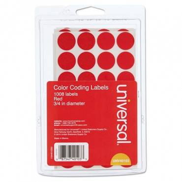 """Universal  Self-Adhesive Removable Color-Coding Labels, 3/4"""" Dia, Red, 1008/Pack"""