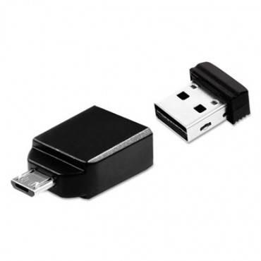 Verbatim  Store 'N' Stay Nano Usb Flash Drive With Usb Otg Micro Adapter, 32gb, Black