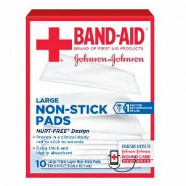 "J & j band-aid first aid 3"" x 4""  non-stick pads part no. 111614300 (10/box)"