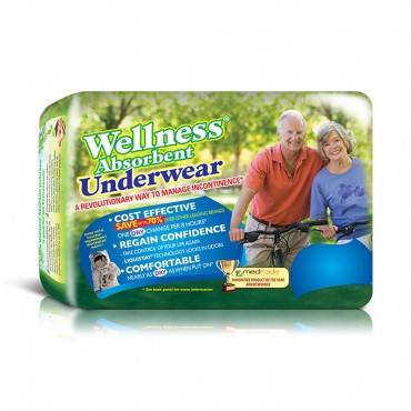 """Wellness Absorbent Underwear, Medium 19"""" To 30"""" Waist (72/Case)"""