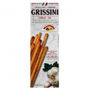 Granforno Grissini Breadsticks - Garlic - Case of 12 - 4.4 oz.