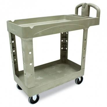 Rubbermaid  Commercial Heavy-Duty Utility Cart, Two-Shelf, 17-1/8w X 38-1/2d X 38-7/8h, Beige