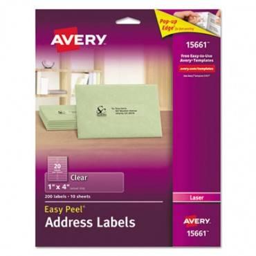 Avery  Matte Clear Easy Peel Address Labels, Laser, 1 X 4, 200/Pack