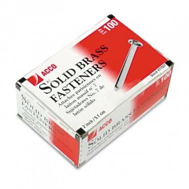 "Brass Prong Paper Fasteners, #8, 2"" Capacity, Brass, 100/box"