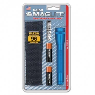 Mini Maglite Aa Flashlight, Blue, Holster Combo Pack