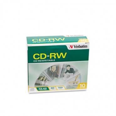 Verbatim  Cd-Rw Discs, 700mb/80min, 2x/4x, Slim Jewel Case, Matte Silver, 10/Pack