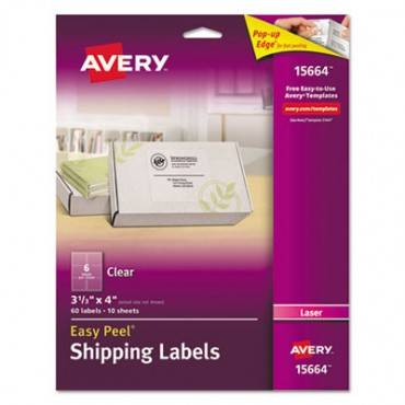 Matte Clear Easy Peel Shipping Labels, Laser, 3 1/3 X 4, 60/pack