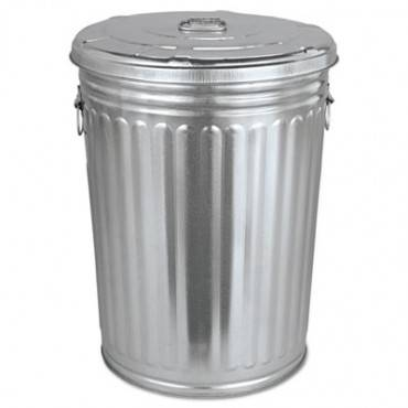 Pre-galvanized Trash Can With Lid, Round, Steel, 20 Gal, Gray