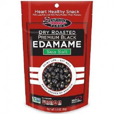 Seapoint Farms Dry Roasted Premium Black Edamame - Sea Salt - Case Of 12 - 3.5 Oz.