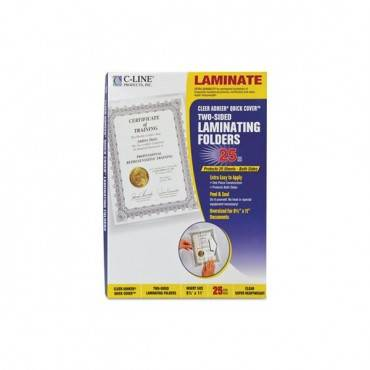 """Quick Cover Laminating Pockets, 12 Mil, 9.13"""" X 11.5"""", Gloss Clear, 25/box"""