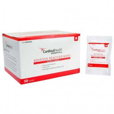 """Cardinal Health Essentials Extra-large Adhesive Remover Wipe 4"""" X 4-3/4"""" Part No. 40298 (50/box)"""