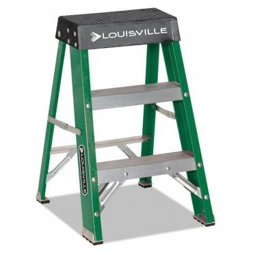 #624 Folding Fiberglass Locking 2-step Stool, 17w X 22 Spread X 24h, Aluminum/green/yellow