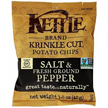 Kettle Brand Potato Chips - Sea Salt And Crushed Black Pepper - Case Of 24 - 1.5 Oz.