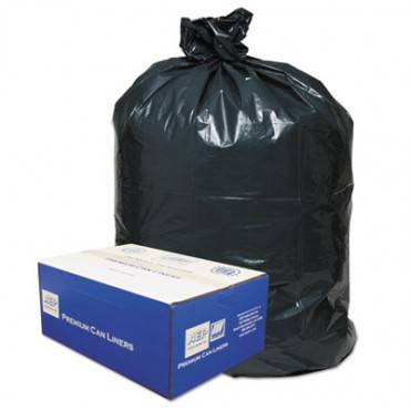 """Linear Low-density Can Liners, 60 Gal, 0.9 Mil, 38"""" X 58"""", Black, 100/carton"""