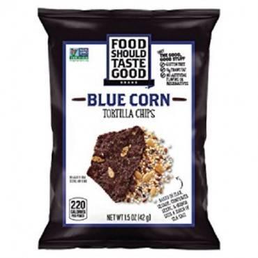 Food Should Taste Good Blue Corn Tortilla Chips - Blue Corn - Case of 24 - 1.5 oz.