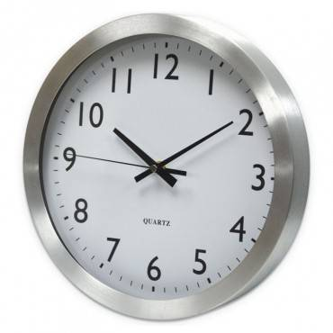 "Universal  BRUSHED STEEL FINISH WALL CLOCK, 12"", SILVER, 1 AA BATTERY UNV10425 1 Each"