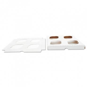 Sct  Cupcake Holder Inserts, Paperboard, White/Kraft, 7 7/8 X 7 7/8 X 7/8, 200/Ctn