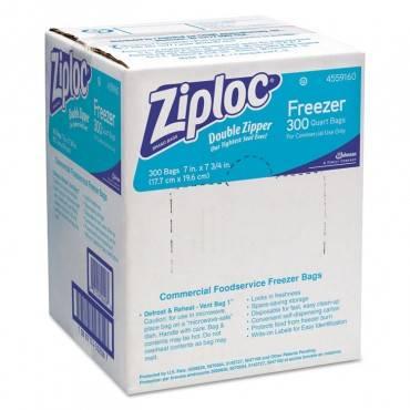 Ziploc  Double Zipper Freezer Bags, 1qt, 2.7mil, 7 X 7 3/4, Clear W/label, 300/carton 696187 300 Case