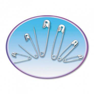 Safety Pins, Nickel-plated, Steel, Assorted Sizes, 50/pack