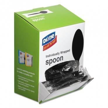 Grab'n Go Wrapped Cutlery, Teaspoons, Black, 90/box