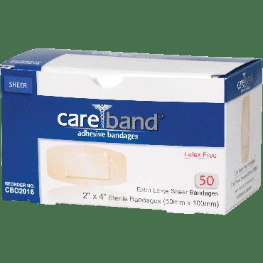 """Careband sheer adhesive bandage, 2"""" x 4"""" part no. cbd2016 (50/box)"""