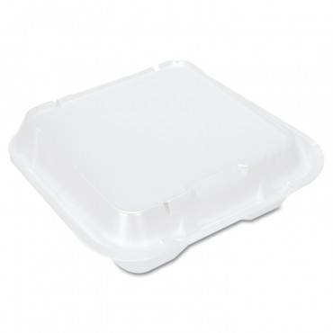 Snap-it Vented Foam Hinged Container, White, 9-1/4 X 9-1/4 X 3, 100/bag, 2/ct