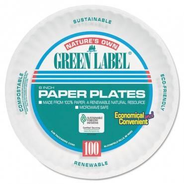 "Paper Plates, 6"" Diameter, White, Bulk Pack, 1000/carton"