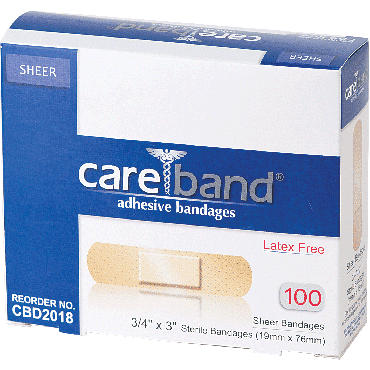 "Careband Sheer Adhesive Bandage, 3/4"" X 3"" (100/Box)"