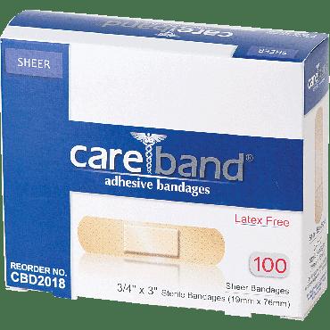 """Careband Sheer Adhesive Bandage, 3/4"""" X 3"""" Part No. Cbd2018 (100/box)"""