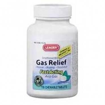 Leader simethicone gas relief tablets 80 mg (100 count) part no. 2804144 (1/ea)