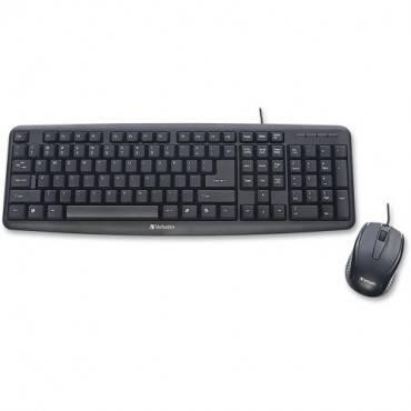 Verbatim Slimline Corded USB Keyboard and Mouse-Black (EA/EACH)