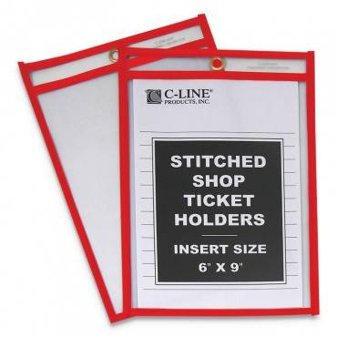 "C Line  STITCHED SHOP TICKET HOLDERS, TOP LOAD, SUPER HEAVY, 6"" X 9"" INSERTS, 25/BOX 43969 25 Box"