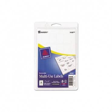 Removable Multi-use Labels, Inkjet/laser Printers, 1 X 0.75, White, 20/sheet, 50 Sheets/pack