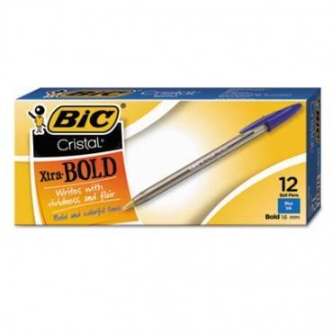 Cristal Xtra Bold Ballpoint Stick Pen, Blue Ink, 1.6mm, Bold, Dozen
