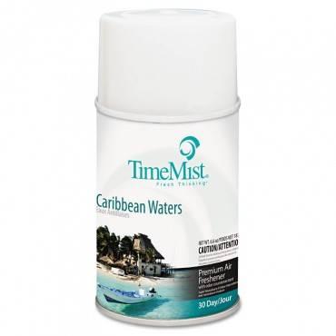Premium Metered Air Freshener Refill, Caribbean Waters, 6.6 Oz Aerosol, 12/carton