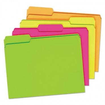 Glow File Folders, 1/3-cut Tabs, Letter Size, Assorted, 24/pack
