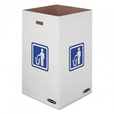 "Waste And Recycling Bin, 50 Gal, 18"" X 18"" X 36 3/8"", White, 10/carton"