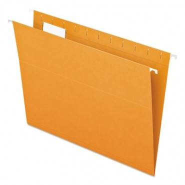Colored Hanging Folders, Letter, 1/5 Tab, Orange, 25/box
