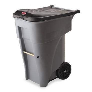 Rubbermaid  Commercial Brute Rollout Heavy-Duty Waste Container, Square, Polyethylene, 65gal, Gray